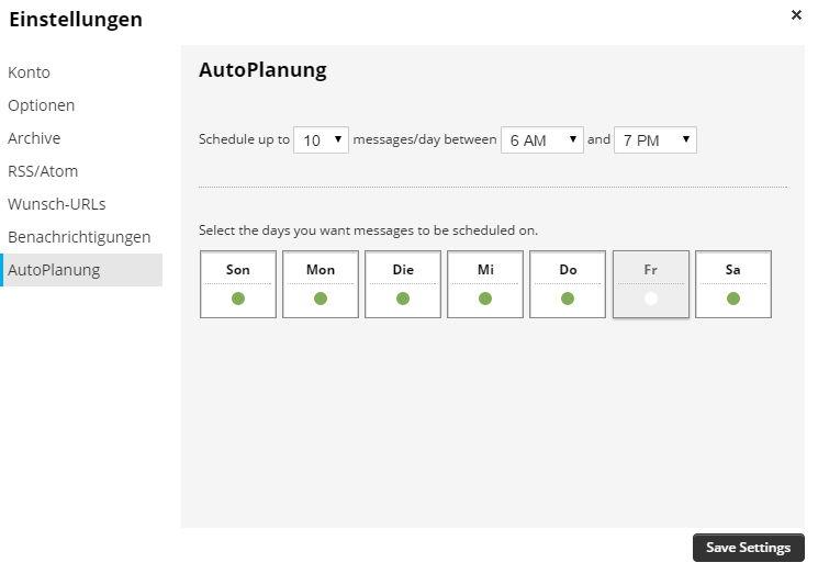 HootSuiteEinstellungAutoplanung