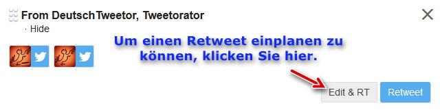 TweetDeck Retweet einplanen